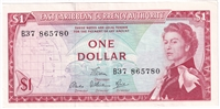 East Caribbean States Note Pick #13d 1965 1 Dollar, Signature 6, EF-AU