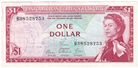 East Caribbean States Note Pick #13d 1965 1 Dollar, Signature 6, Almost Uncirculated