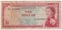 East Caribbean States Note Pick #13e 1965 1 Dollar, Sig 8, Replacement, Fine