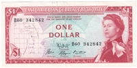East Caribbean States Note Pick #13f 1965 1 Dollar, Signature 9, Almost Uncirculated