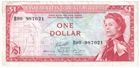 East Caribbean States Note Pick #13g 1965 1 Dollar, Signature 10, Very Fine