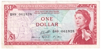 East Caribbean States Note Pick #13g 1965 1 Dollar, Signature 10, VF-EF