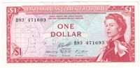 East Caribbean States Note Pick #13g 1965 1 Dollar, Signature 10, AU-UNC