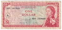 "East Caribbean States Note Pick #13h 1965 1 Dollar, ""A"" Overprint, Very Fine"