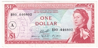 "East Caribbean States Note Pick #13h 1965 1 Dollar, ""A"" Overprint, AU"