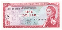 "East Caribbean States Note Pick #13i 1965 1 Dollar, ""D"" Overprint, AU"