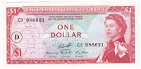 "East Caribbean States Note Pick #13i 1965 1 Dollar, ""D"" Overprint, AU-UNC"