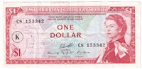 "East Caribbean States Note Pick #13k 1965 1 Dollar, ""K"" Overprint, VF-EF"