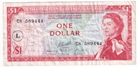 "East Caribbean States Note Pick #13l 1965 1 Dollar, ""L"" Overprint, Very Fine"