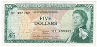 East Caribbean States Note Pick #14b 1965 5 Dollars, Signature 2, VF-EF