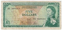 East Caribbean States Note Pick #14d 1965 5 Dollars, Signature 4, Very Fine