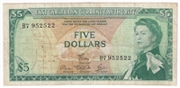 East Caribbean States Note Pick #14e 1965 5 Dollars, Signature 5, Fine