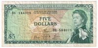 East Caribbean States Note Pick #14e 1965 5 Dollars, Signature 5, Very Fine