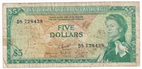 East Caribbean States Note Pick #14h 1965 5 Dollars, Signature 10, Circ