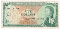 "East Caribbean States Note Pick #14m 1965 5 Dollars, ""L"" Overprint, Very Fine"