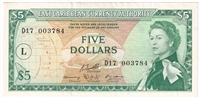 "East Caribbean States Note Pick #14m 1965 5 Dollars, ""L"" Overprint, AU"