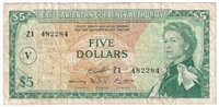 "East Caribbean States Note Pick #14p 1965 5 Dollars, ""V"" Overprint, Replace, VF"