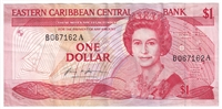 East Caribbean States Note Pick #17a 1985-88 1 Dollar, VF-EF