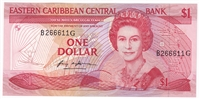 East Caribbean States Note Pick #17g 1985-88 1 Dollar, Suffix G, UNC