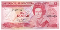 East Caribbean States Note Pick #17k 1985-88 1 Dollar, Suffix K, Almost Uncirculated