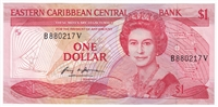 East Caribbean States Note Pick #17v 1985-88 1 Dollar, Suffix V, AU-UNC