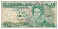 East Caribbean States Note Pick #18l 1986-88 5 Dollars, Suffix L, Fine
