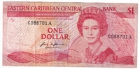 East Caribbean States Pick #21a 1988-89, 1 Dollar, Suffix A, Very Fine