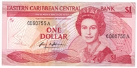 East Caribbean States Pick #21a 1988-89, 1 Dollar, Suffix A, Almost Uncirculated