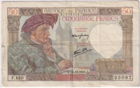 France Note 1942 10 Francs, F (holes)