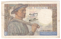 France Note 1942 10 Francs, VF
