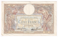France Note 1938 100 Francs, VF (tear)
