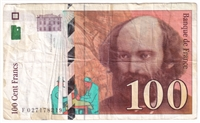 France Note 1997 100 Francs, VF (damaged)