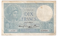 France Note 1939 10 Francs, VF