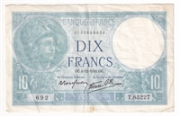 France Note 1941 10 Francs, VF