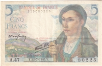France Note 1943 5 Francs, EF