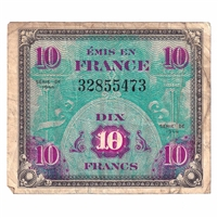 France Note Pick #116a 1944 10 Francs, F-VF