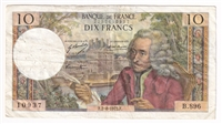France Note 1973 10 Francs, VF (Holes)