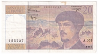 France Note Pick #151i 1997 20 Francs, VF-EF (stain)