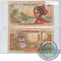 Fr. Antilles Note 1964 10 Francs, Fine (hole)