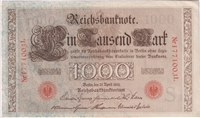 Germany Note 1910 1000 Mark, Red, EF