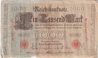Germany Note 1910 1000 Mark, Red, VF (Damaged)