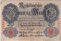 Germany Note 1914 20 Mark, VG-F (Damaged)