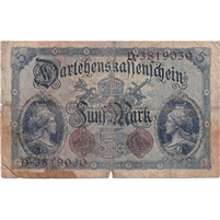 Germany Note 1914 5 Mark 7 Digit, VG (damaged)
