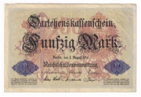Germany Note 1914 50 Mark, 6-Digit Serial Number, Extra Fine