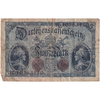 Germany Note 1914 5 Mark 8 Digit, VG (damaged)
