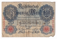 Germany Note 1914 20 Mark, F (Damaged)