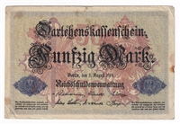 Germany Note 1914 50 Mark, F (dam'g)