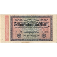 Germany Note 1923 20000 Mark, VF (stain)