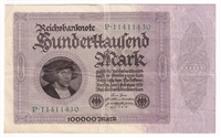 Germany Note 1923 100000 Mark, VF (Damaged)