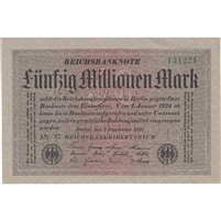 Germany Note 1923 50 Million Mark, AU (tear)